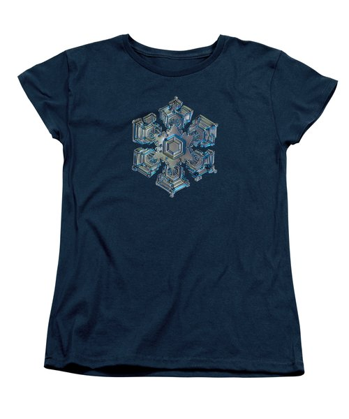 Women's T-Shirt (Standard Cut) featuring the photograph Snowflake Photo - Silver Foil by Alexey Kljatov