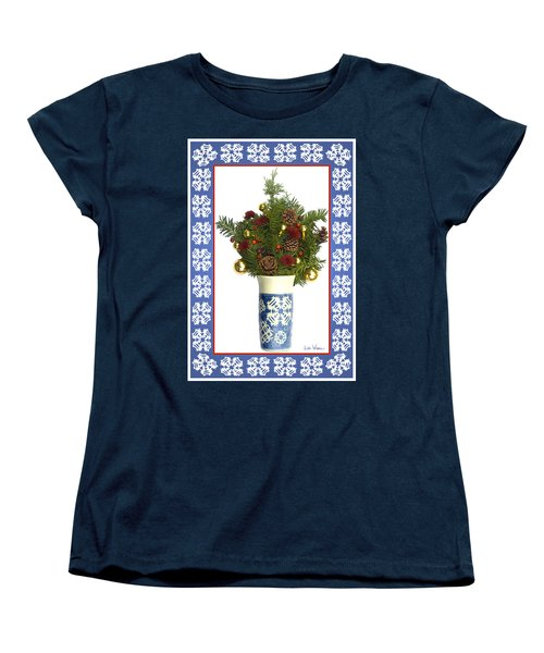 Snowflake Vase With Christmas Regalia Women's T-Shirt (Standard Cut) by Lise Winne