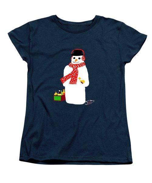 Snowman Women's T-Shirt (Standard Cut) by Barbara Moignard