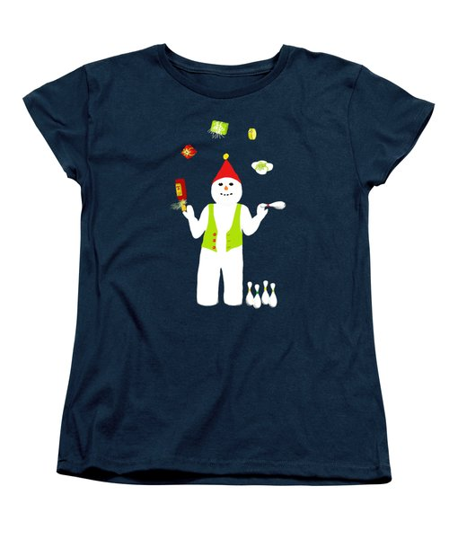 Women's T-Shirt (Standard Cut) featuring the digital art Snowman Juggler by Barbara Moignard