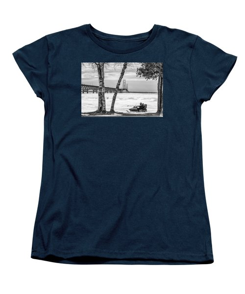 Women's T-Shirt (Standard Cut) featuring the photograph Snowmobile Michigan Black And White  by John McGraw