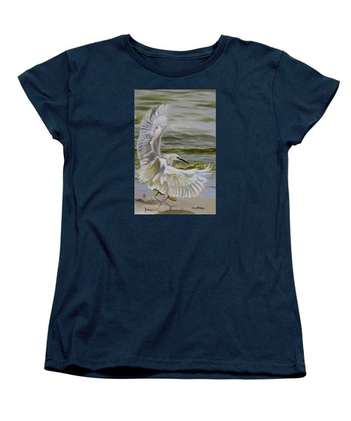 Women's T-Shirt (Standard Cut) featuring the painting Snowy Egret Landing On The Shore by Phyllis Beiser