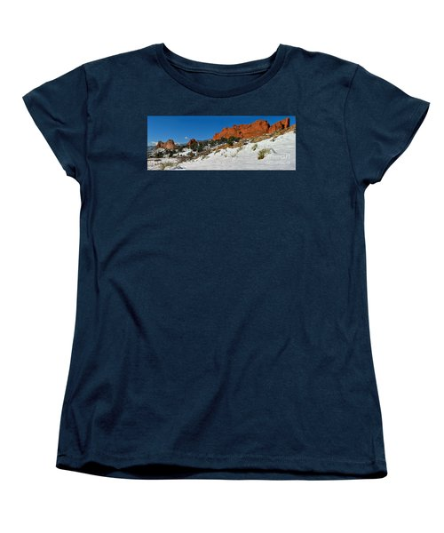 Women's T-Shirt (Standard Cut) featuring the photograph Snowy Fields At Garden Of The Gods by Adam Jewell