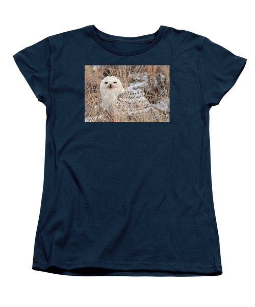 Snowy Owl Women's T-Shirt (Standard Cut) by Nancy Landry