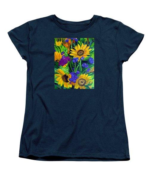 Sunflowers -soaking Up Sunshine Women's T-Shirt (Standard Cut) by Julie Brugh Riffey