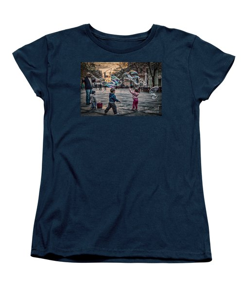 Women's T-Shirt (Standard Cut) featuring the photograph Soap Bubbles Evening Play by Jivko Nakev