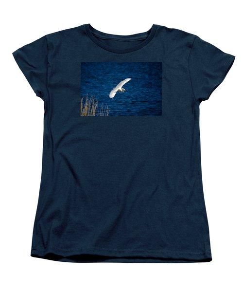 Soaring Snowy Egret  Women's T-Shirt (Standard Cut) by DigiArt Diaries by Vicky B Fuller