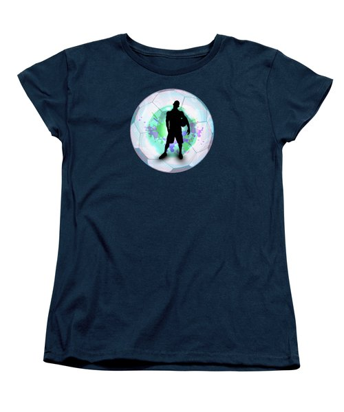 Soccer Player Posing With Ball Soccer Background Women's T-Shirt (Standard Cut) by Elaine Plesser