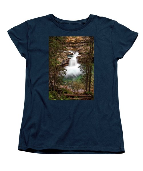 Women's T-Shirt (Standard Cut) featuring the photograph Soft Smooth Waterfall by Darcy Michaelchuk