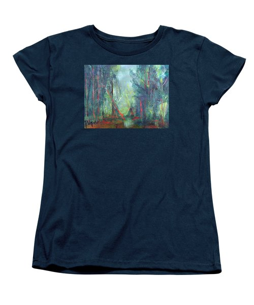 Women's T-Shirt (Standard Cut) featuring the painting Softlit Forest by Betty Pieper