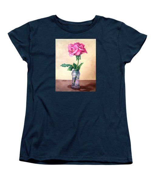 Women's T-Shirt (Standard Cut) featuring the painting Solo Rose by Laura Aceto