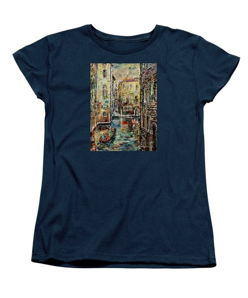 Women's T-Shirt (Standard Cut) featuring the painting Somewhere In Venice by Alfred Motzer