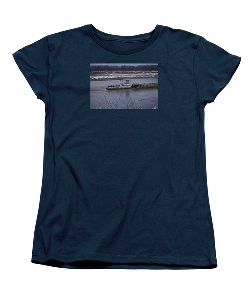 Women's T-Shirt (Standard Cut) featuring the photograph Southbound Barges by Jane Eleanor Nicholas