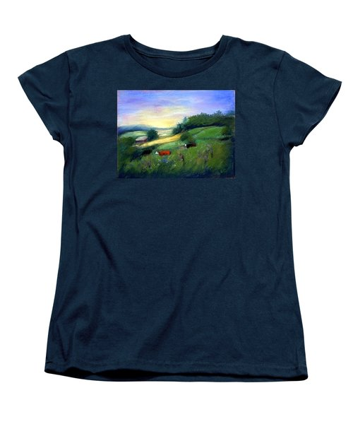 Women's T-Shirt (Standard Cut) featuring the painting Southern Ohio Farm by Gail Kirtz