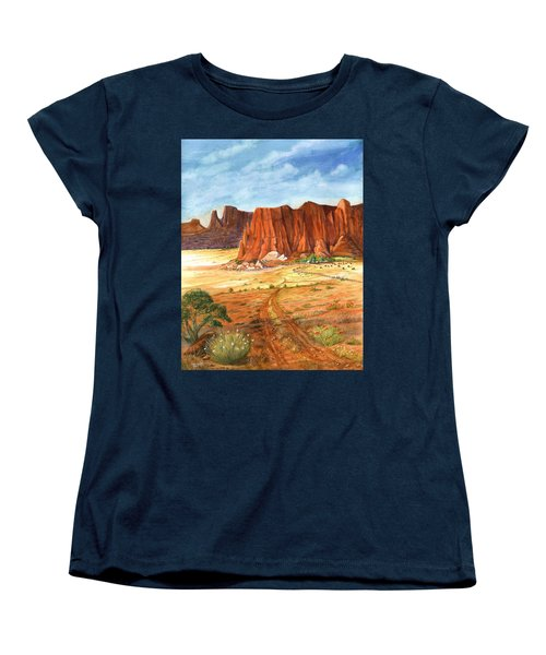 Women's T-Shirt (Standard Cut) featuring the painting Southwest Red Rock Ranch by Marilyn Smith