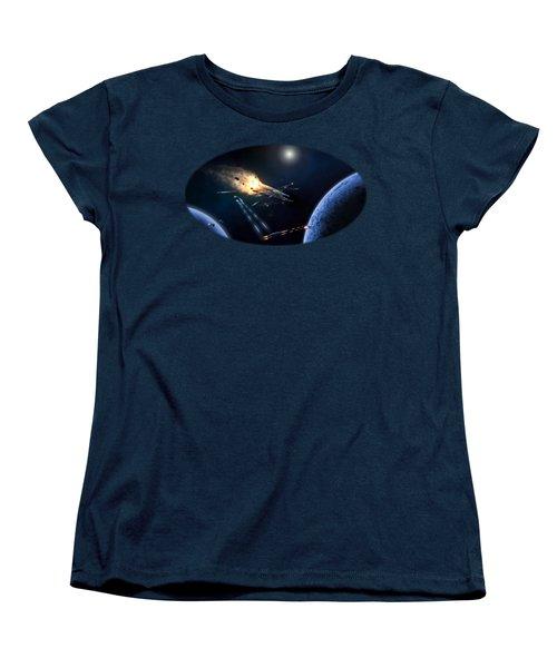 Space Battle I Women's T-Shirt (Standard Cut) by Carlos M R Alves