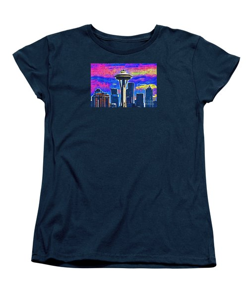 Women's T-Shirt (Standard Cut) featuring the digital art Space Needle Colorful Sky by Kirt Tisdale