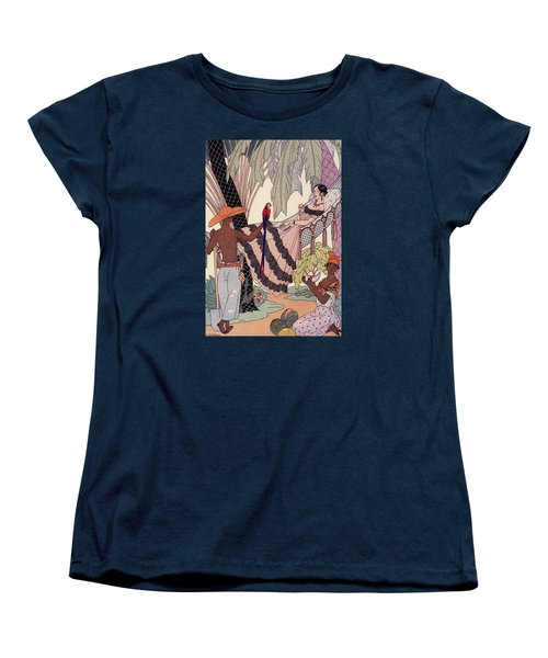 Spanish Lady In Hammock With Parrot Women's T-Shirt (Standard Cut) by Georges Barbier