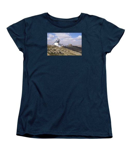 Spanish Windmills And Castle Of Consuegra Women's T-Shirt (Standard Cut) by Perry Van Munster