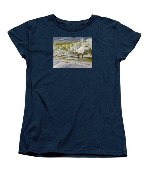 Women's T-Shirt (Standard Cut) featuring the painting Sparking Snowy Egret by Phyllis Beiser