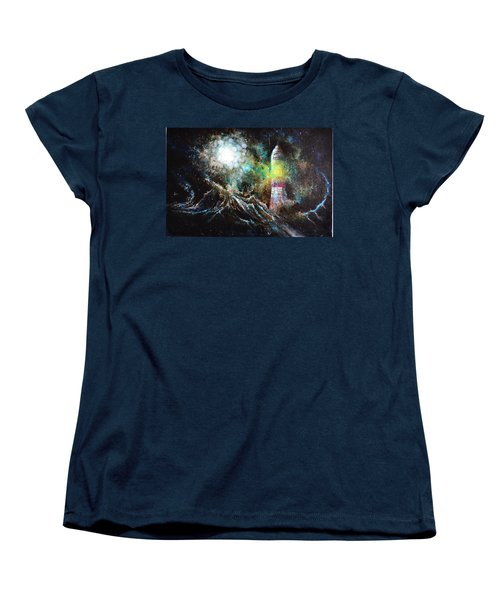 Women's T-Shirt (Standard Cut) featuring the painting Sparks - The Storm At The Start by Sandro Ramani