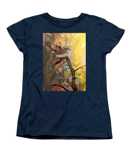 Women's T-Shirt (Standard Cut) featuring the painting Sparrow by Sherry Shipley