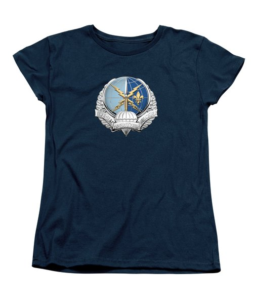 Special Operations Weather Team -  S O W T  Badge Over Blue Velvet Women's T-Shirt (Standard Cut) by Serge Averbukh