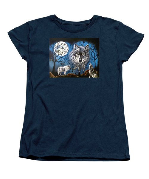 Spirit Wolf Women's T-Shirt (Standard Cut) by Teresa Wing