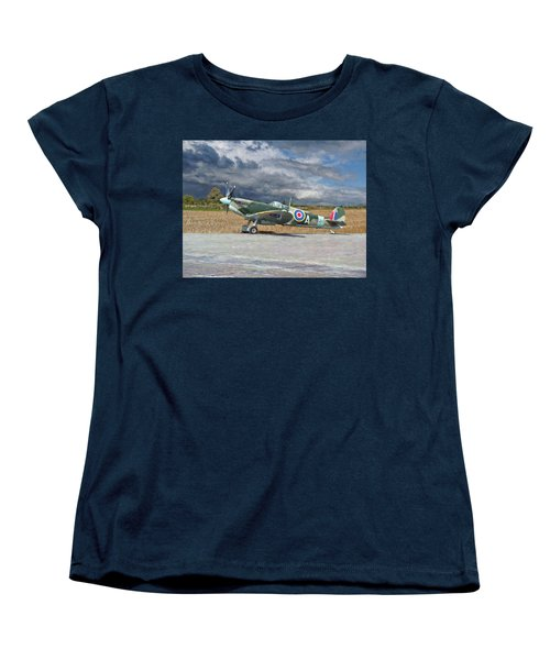Spitfire Under Storm Clouds Women's T-Shirt (Standard Cut) by Paul Gulliver