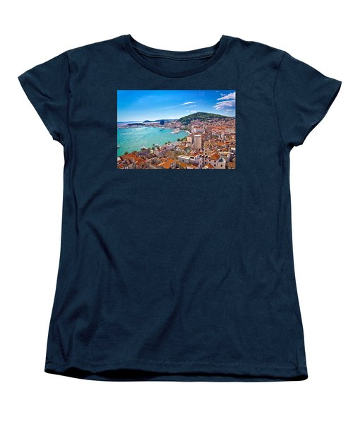 Split Waterfront And Marjan Hill View Women's T-Shirt (Standard Cut) by Brch Photography