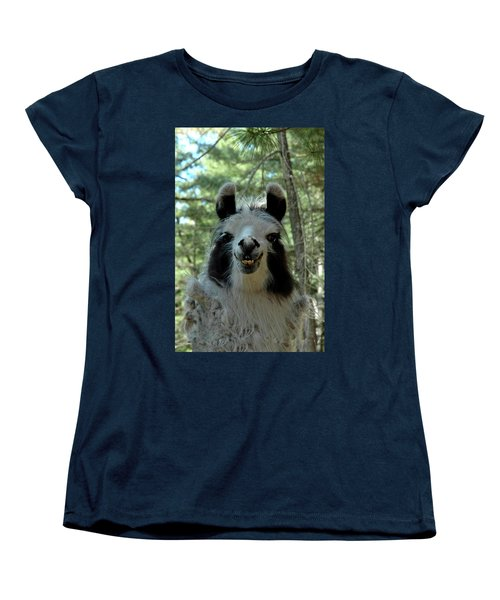 Women's T-Shirt (Standard Cut) featuring the photograph Spooky Llama by LeeAnn McLaneGoetz McLaneGoetzStudioLLCcom