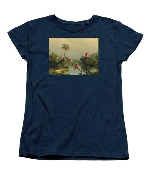 Spoonbills In The Mist Women's T-Shirt (Standard Cut) by Spadecaller