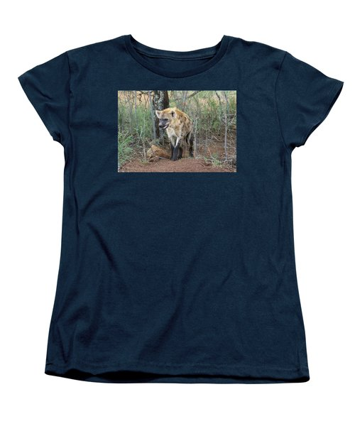 Women's T-Shirt (Standard Cut) featuring the photograph Spotted Hyena by Myrna Bradshaw