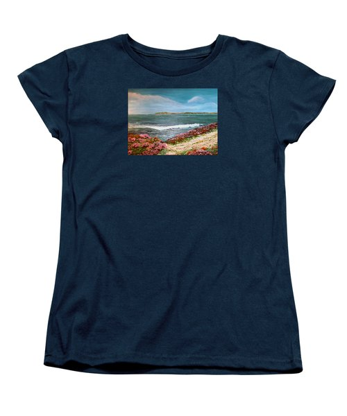 Women's T-Shirt (Standard Cut) featuring the painting Spring At Half Moon Bay by Dee Davis