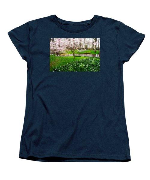 Women's T-Shirt (Standard Cut) featuring the photograph Spring Blossom In Keukenhof Garden by Jenny Rainbow