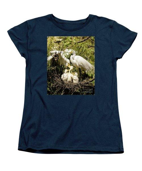 Women's T-Shirt (Standard Cut) featuring the photograph Spring Egret Chicks by Robert Frederick