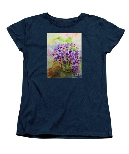 Spring Purple Flowers Watercolor Women's T-Shirt (Standard Cut) by AmaS Art