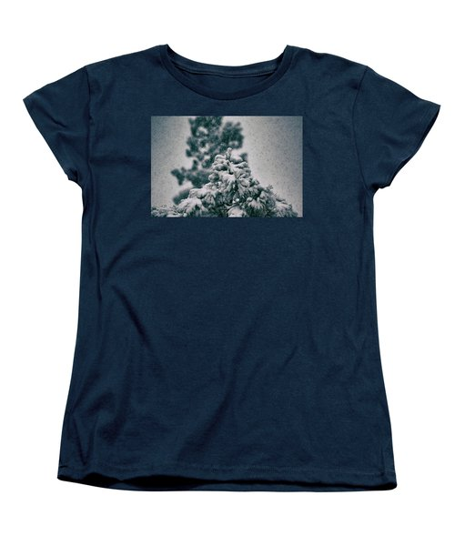 Spring Snowstorm On The Treetops Women's T-Shirt (Standard Cut) by Jason Coward