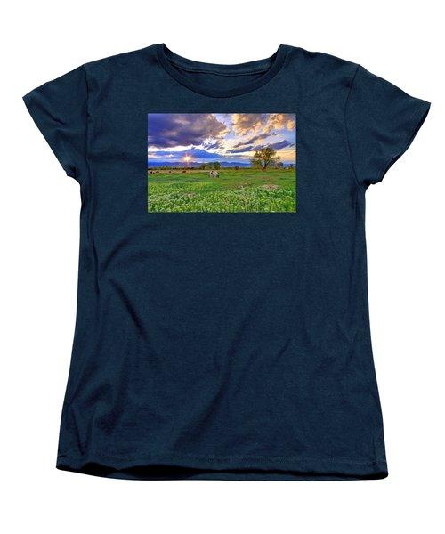 Spring Sunset Over The Rockies Women's T-Shirt (Standard Cut) by Scott Mahon
