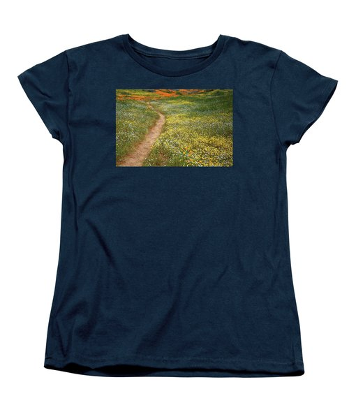 Women's T-Shirt (Standard Cut) featuring the photograph Spring Trail Through A Sea Of Wildflowers At Diamond Lake In California by Jetson Nguyen