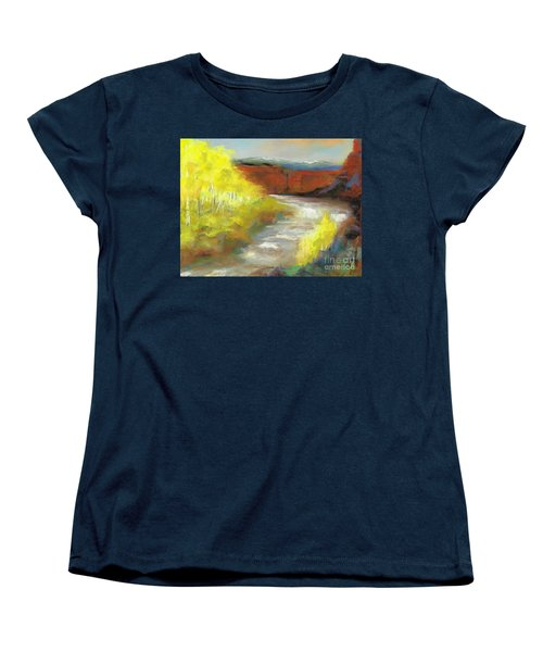 Women's T-Shirt (Standard Cut) featuring the painting Springtime In The Rockies by Frances Marino