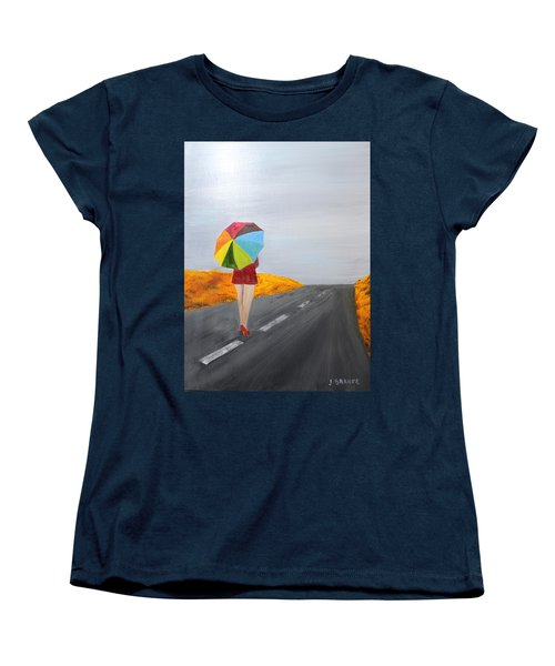 Women's T-Shirt (Standard Cut) featuring the painting Sprinkled Stroll by Jack G Brauer