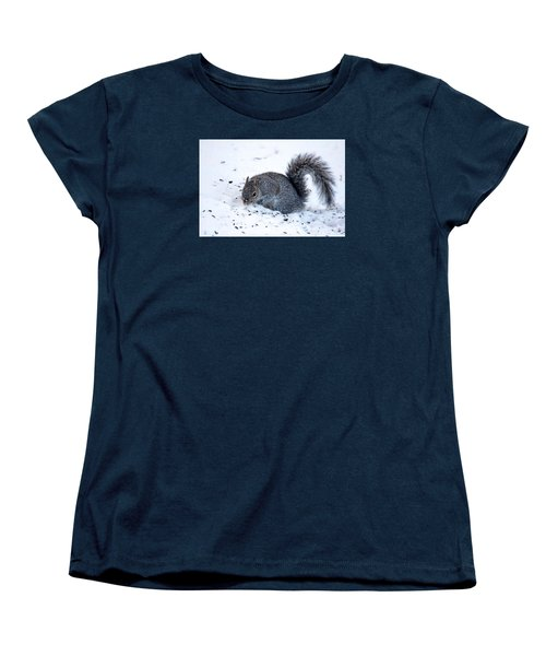 Women's T-Shirt (Standard Cut) featuring the photograph Squirrel On The Hunt by Trina Ansel