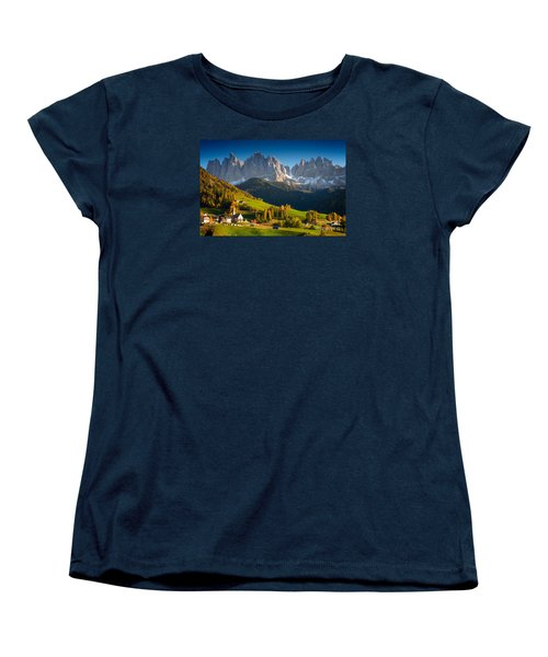 St. Magdalena Alpine Village In Autumn Women's T-Shirt (Standard Cut) by IPics Photography