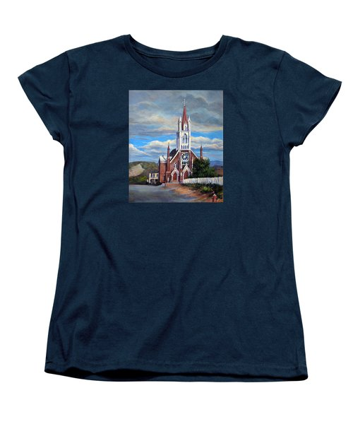 Women's T-Shirt (Standard Cut) featuring the painting St. Mary Of The Mountains by Donna Tucker