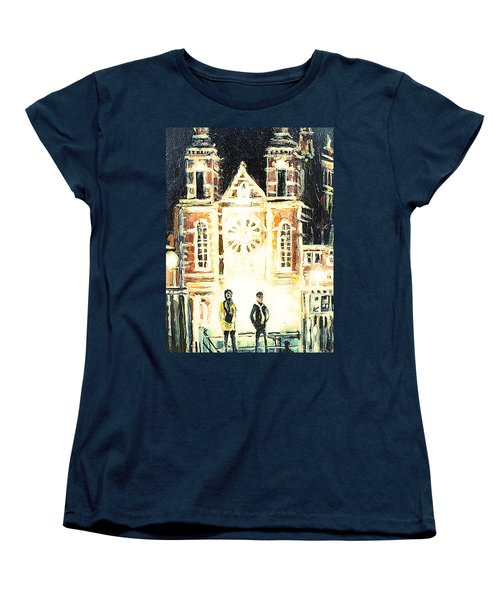 Women's T-Shirt (Standard Cut) featuring the drawing St Nicolaaskerk Church by Linda Shackelford