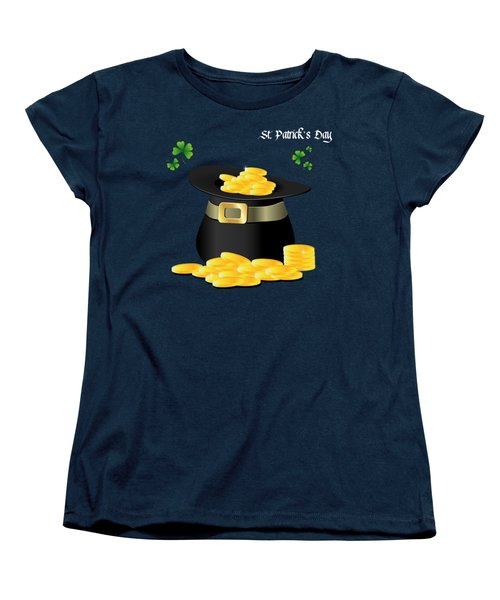 St. Patrick's Day Gold Coins In Hat Women's T-Shirt (Standard Cut) by Serena King