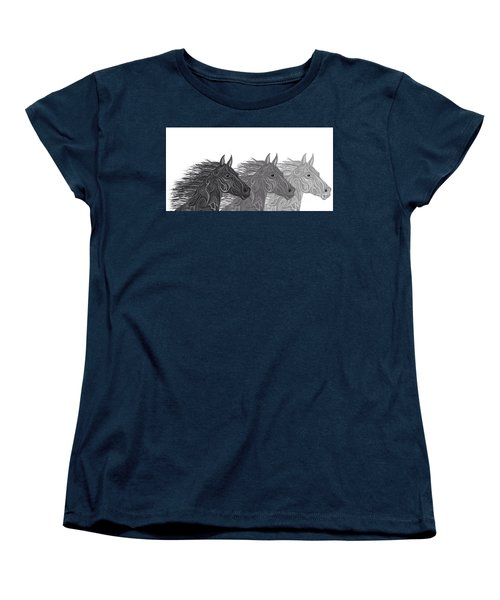 Women's T-Shirt (Standard Cut) featuring the drawing Stallions Shades by Nick Gustafson