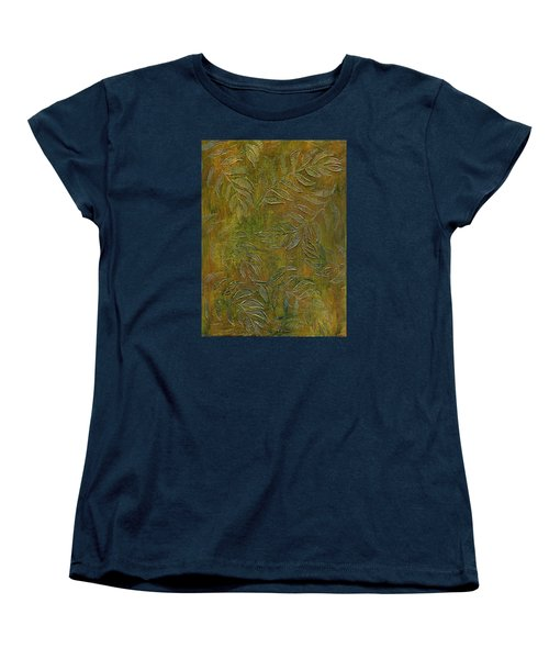Stamped Textured Leaves Women's T-Shirt (Standard Cut) by Sandra Foster