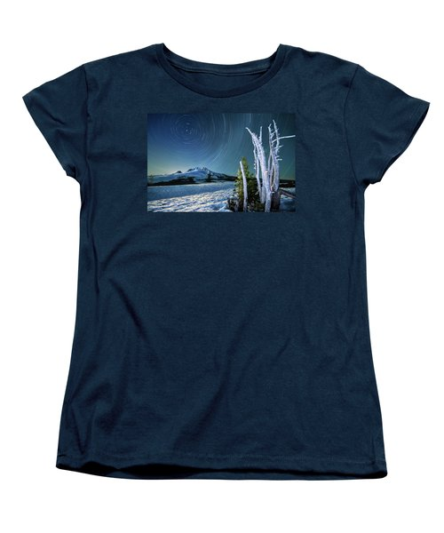 Star Trails Over Mt. Hood Women's T-Shirt (Standard Cut) by William Lee
